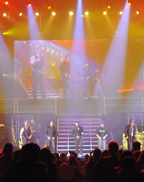 Collegian Photo By: Jimmy Dever New Kids on the Block performed to an excited crowd Tuesday night in the Bryce Jordan Center