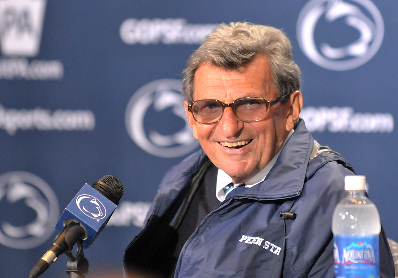 Collegian Photo By: Jimmy Dever Joe Paterno reacts to a question following Penn State's victory over Syracuse Saturday.