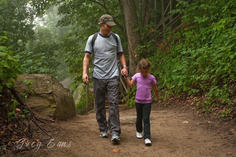 Rob and Tully during a hike to the waterfall at Chimney Rock.
