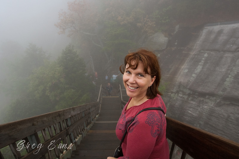 Angie on the climb down from Chimney Rock.