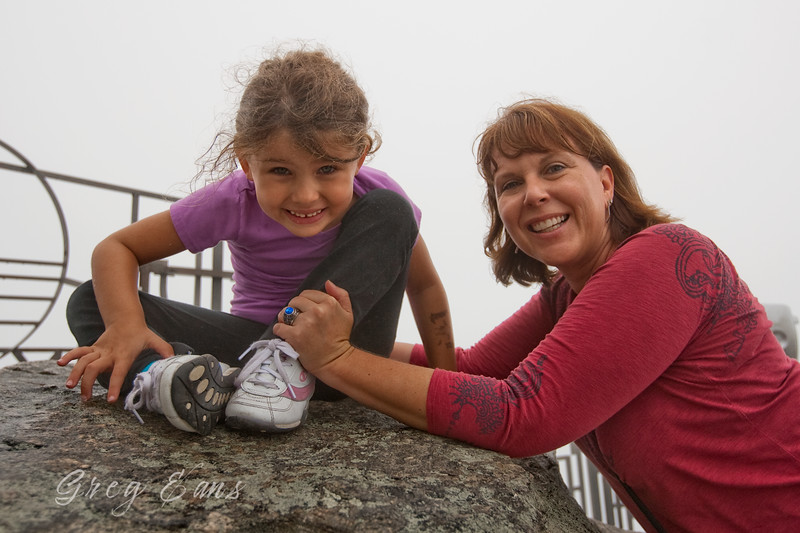 Tully and Angie on top of Chimney Rock.