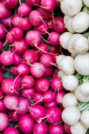 Red and white radishes at a farmers market