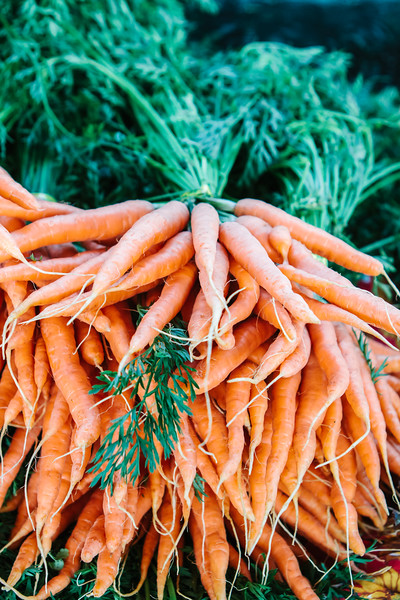 A bunch of fresh, local, organic carrots for sale at an outdoors farmers market