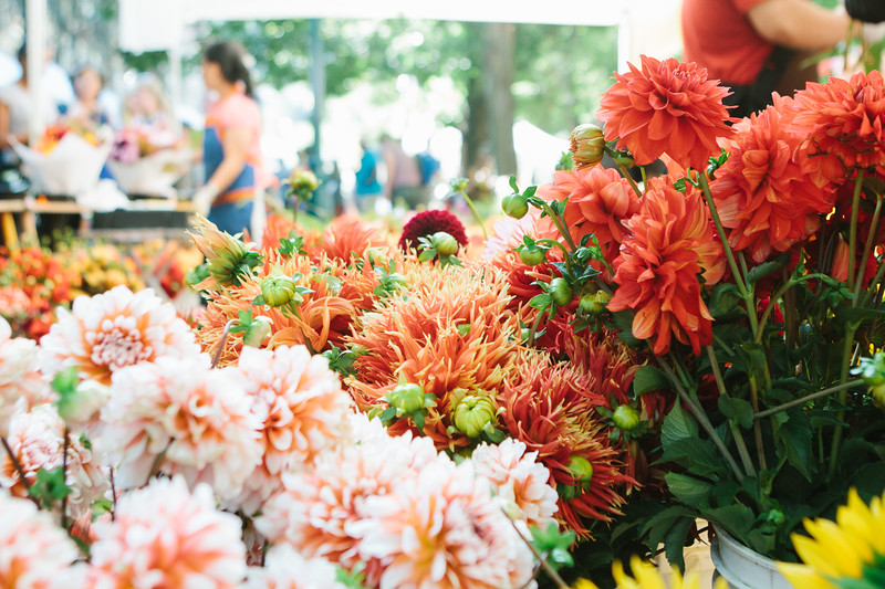 Fresh flowers for sale at a farmers market with people in the background selling them
