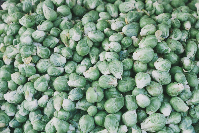 Brussels sprout for sale at a farmers market
