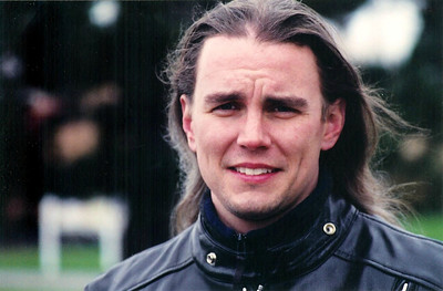 Motorcycle training class in April 2002. Can't you tell...I'm modeling leather jackets and flowing, long hair.  :)