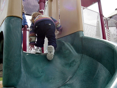 Made it up the slide!