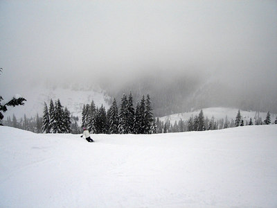 Lots of fog off the backside of Stevens Pass.