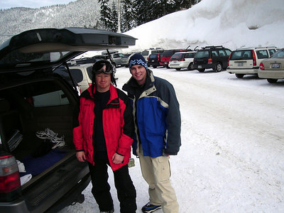 Loading up our gear after a day snowboarding up at Stevens Pass.
