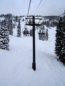 Looking up the lift on the backside of Stevens Pass.