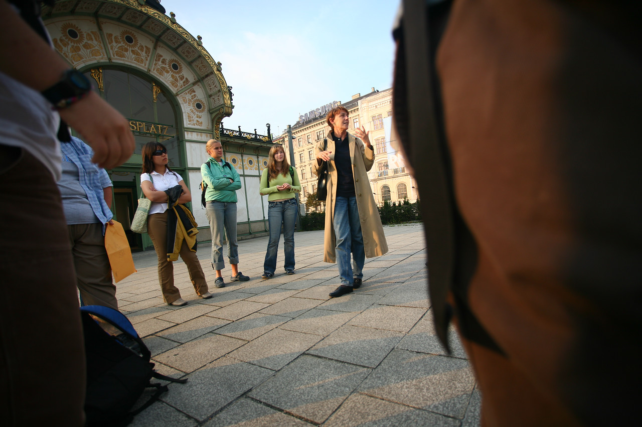 With Vienna around us, our group had many required activities to help us take in as much as possible. Usually our guide was the intreped *Renate*, shown here explaining the intrecicies of Vienniese architecture in front of Otto Wagner's landmark Karlsplatz station.
