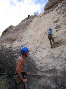 Mike on belay, Climbing, Walter in the background
