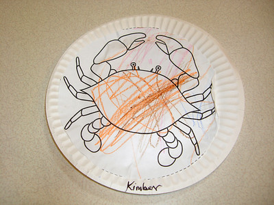 A crab that she colored and then glued to a paper plate. Yummy dinner!