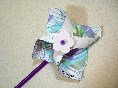 A pinwheel that she painted in daycare.
