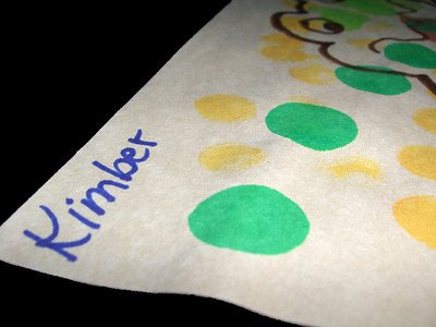 Close up of Kimber's name on her frog from daycare.