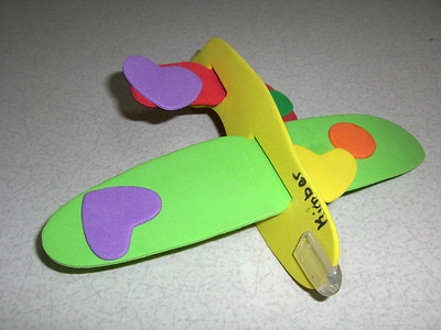 Bottom of the airplane Kimber glued together at daycare.