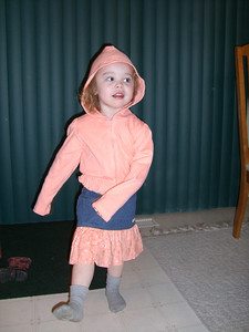 Modeling birthday clothes.
