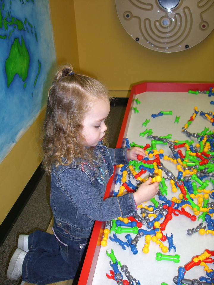 Checking out the funky toys - at the Everett Children's Museum.