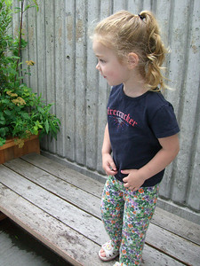Standing on a bench, but she just spied some birds and is about to take off after them.