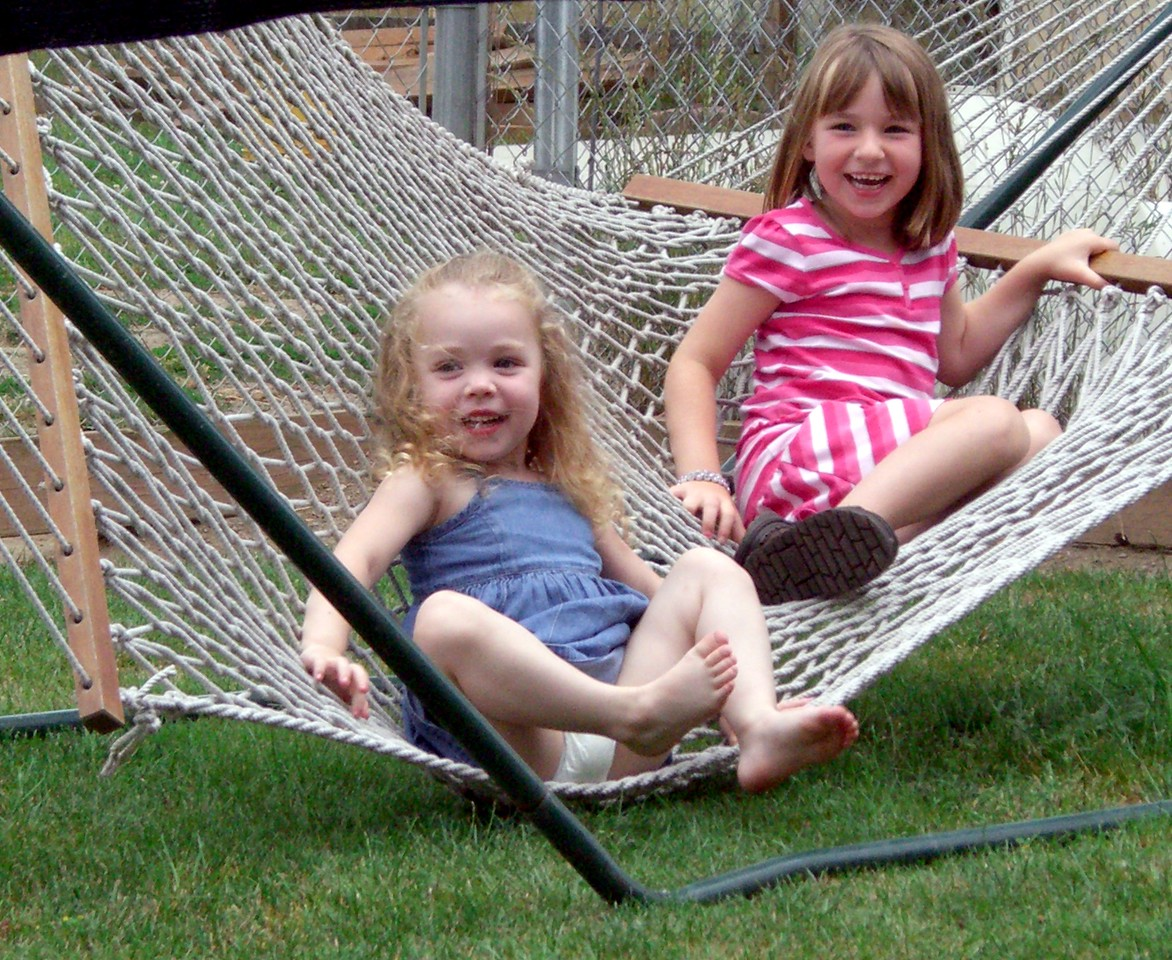 Kimber and Brianna playing on the hammock.