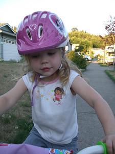 Riding her first bike!
