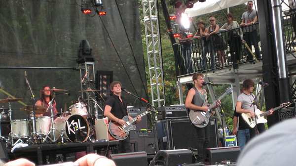Close up of Kings of Leon.