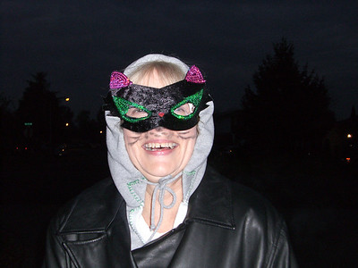 Grandmama Carol in her cat mask.