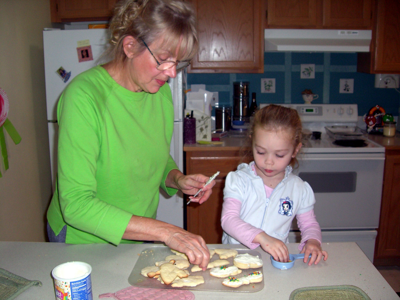 Baking Halloween cookies.