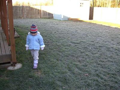 Playing in the backyard.