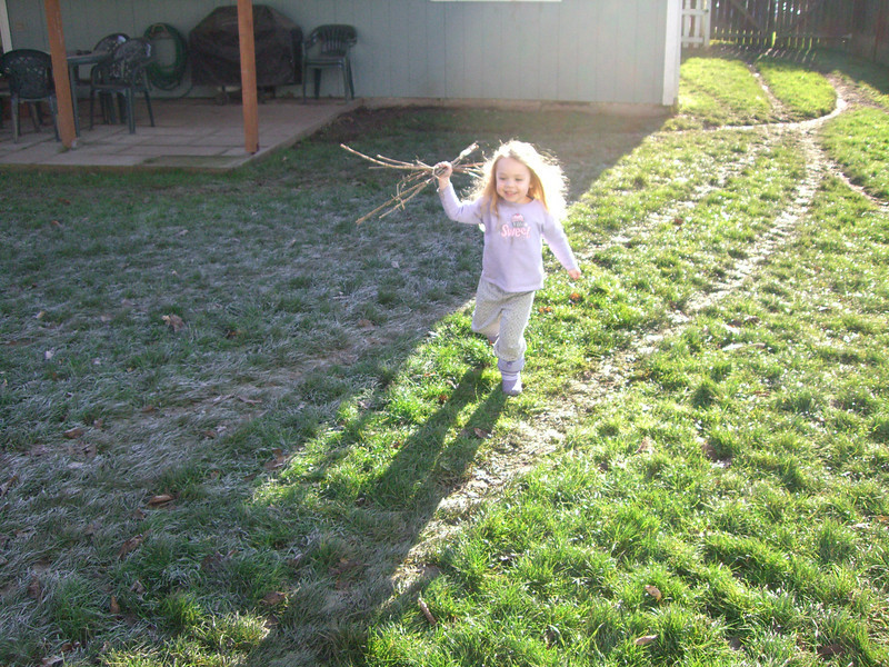Playing in the backyard.