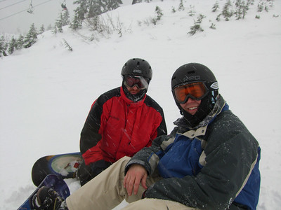 A quick breather while going down Skyline at Stevens Pass.