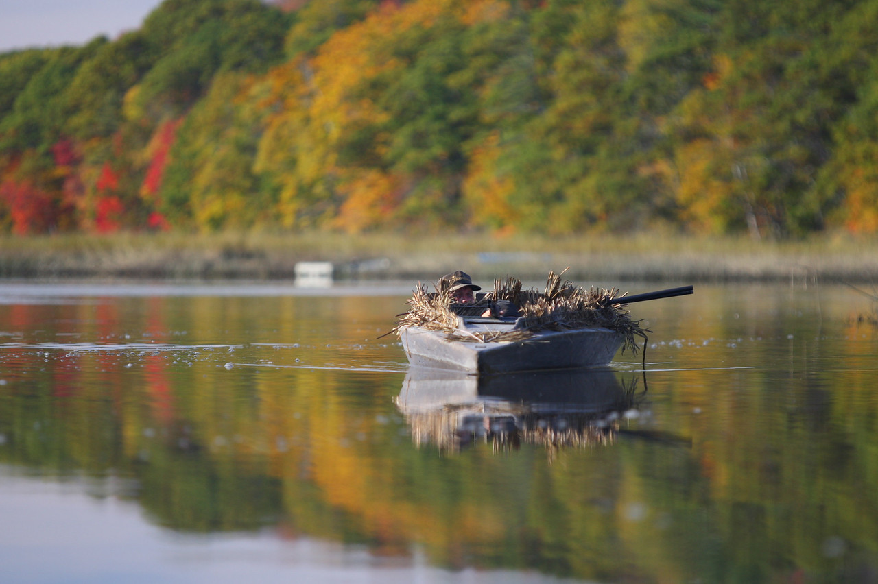 Al Hall pilots his silent but deadly gunning float through the waters of Merrymeeting Bay towards his goose decoys in hopes of another successful goose hunt.