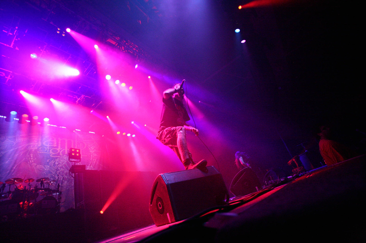 Lamb of God lead vocalist Randy Blythe leads the heavy metal band through an explosive evening at the Colisee on Saturday night.