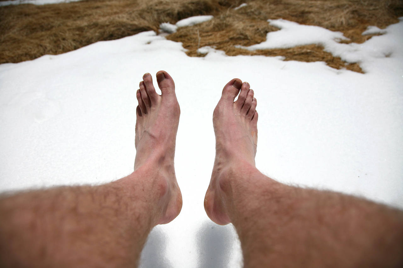I know you probably don't want to see my feet, but it was so nice out. I thought it was kind of funny, bare feet and snow.