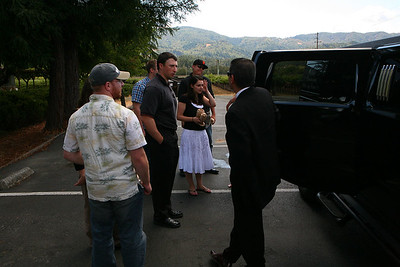 Concerned outside the limo