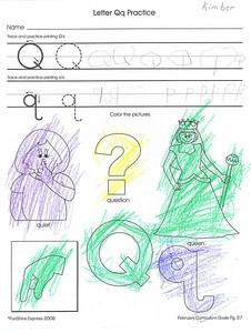 Practicing letter Q. 2.22.2008