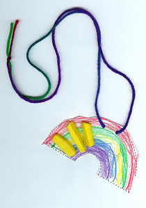 A rainbow necklace with pieces of sponge glued to it. 3.13.2008
