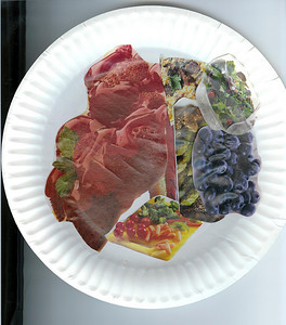 Dinner plate made of food cutout of magazines. Yummy! 3.18.2008