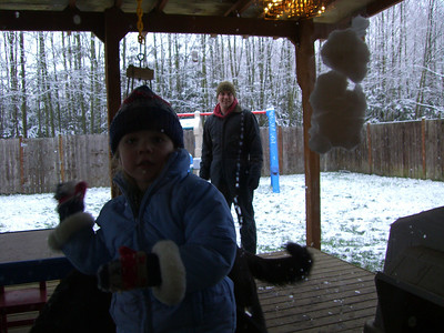 Throwing snowballs at the mystery photographer inside.