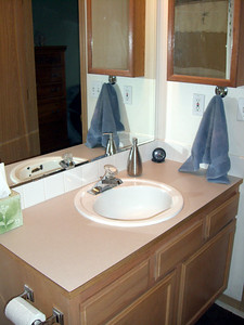 Here's the original P.O.S. Notice the excessive chipping that had occurred in the overflow hole in the sink. And the faucet (also original) was so hard to turn off that Kimber often left it dripping.