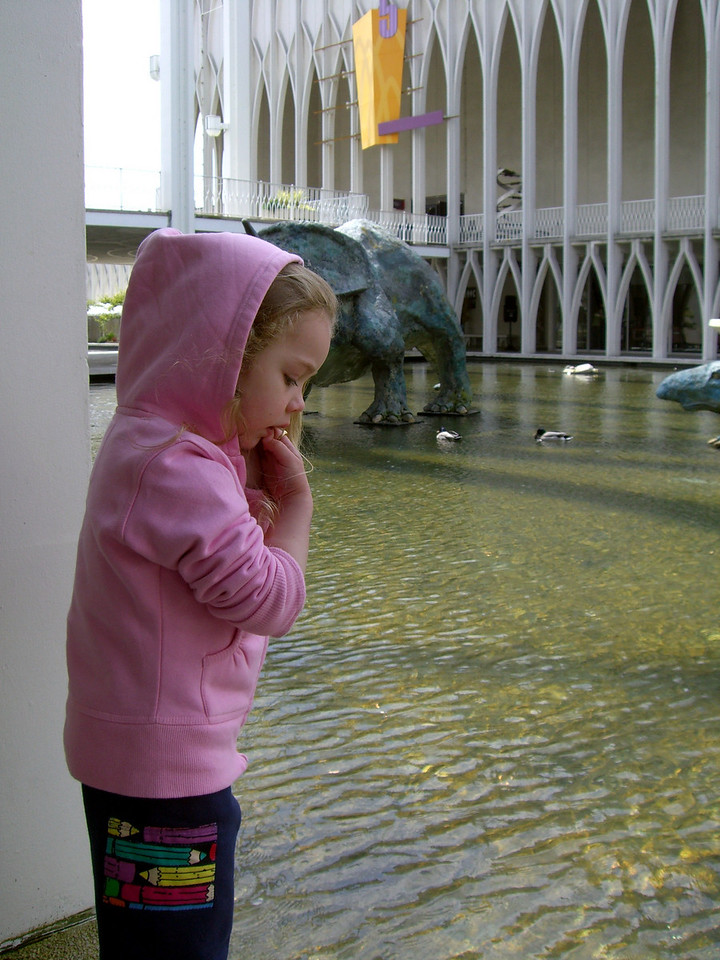 Contemplating the water. Visiting the Pacific Science Center.