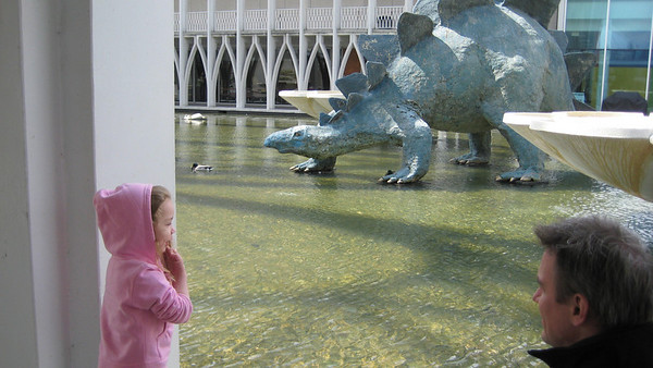 Looking at the water and dinosaurs (at the Pacific Science Center).