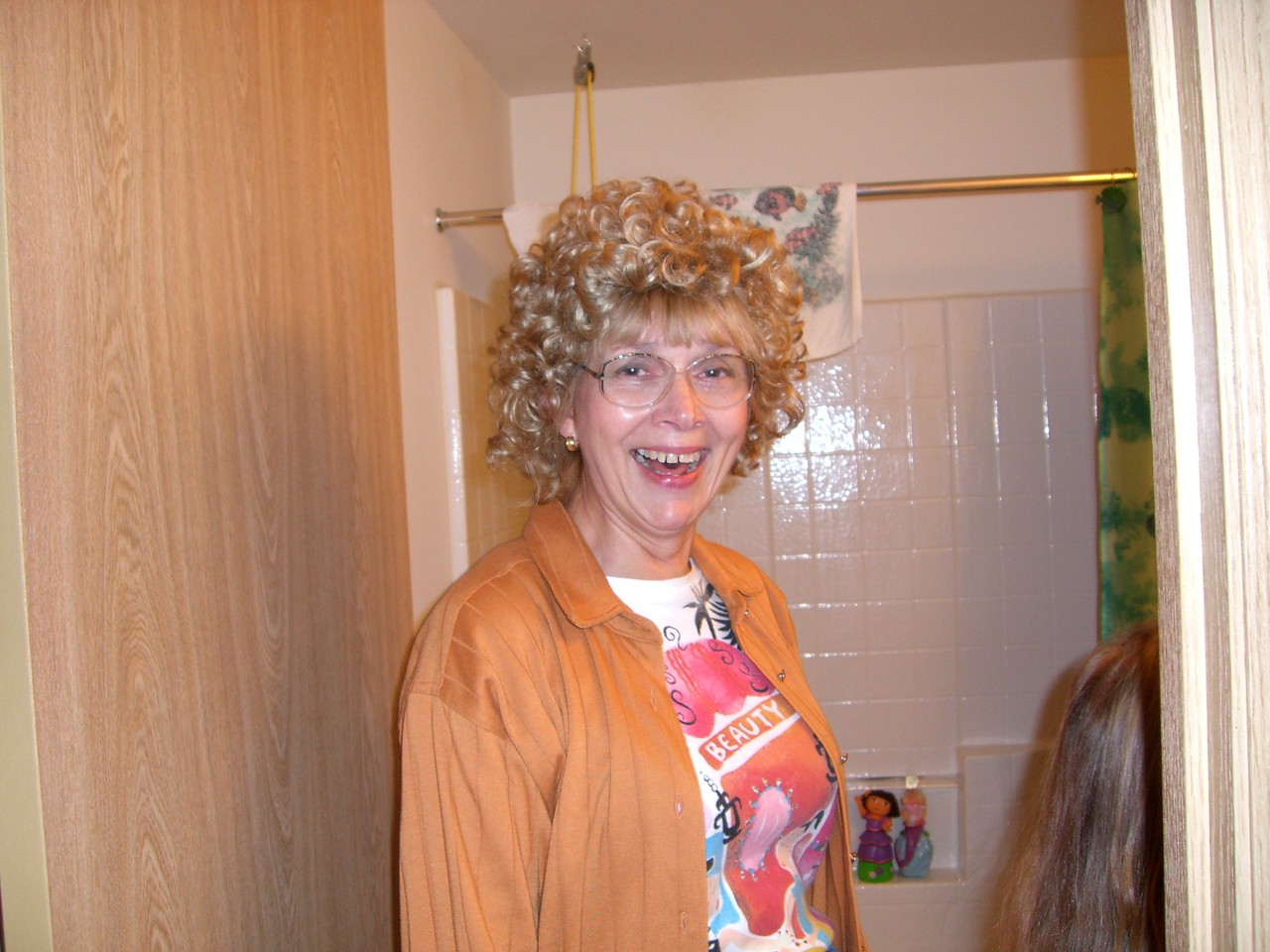 Mom models the wig.