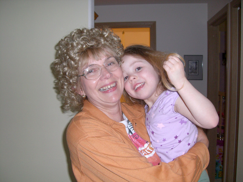 Grandmama (with wig) and the peanut.