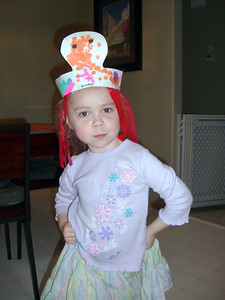 Kimber modeling an octopus hat she made at daycare that day...and her attitude.