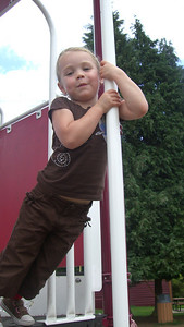 Her first time going down the pole by herself!