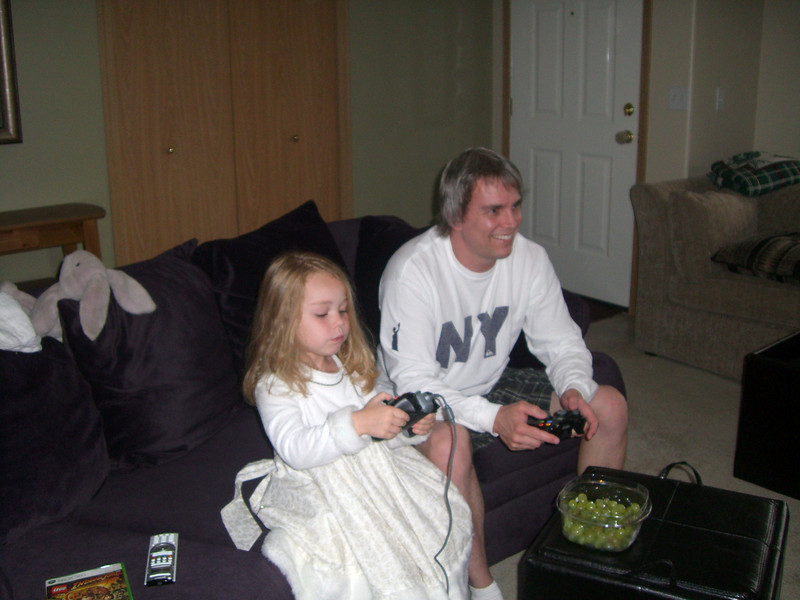 Playing Xbox together...family time.
