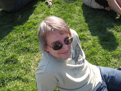 Me relaxing on the lawn while Whitney danced around.