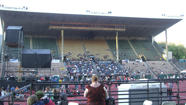 The main stage (looking at the bleachers across from us) before The Black Keys.