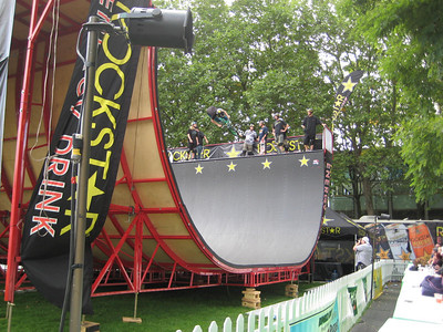 The Rockstar ramp. They had BMX bikes one day and then skateboarders on this day. Catching massive air!